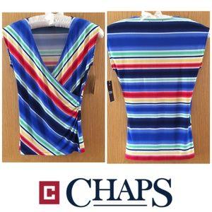 CHAPS Top Blue Striped Crossover Drape